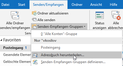 Adressbuch aktualisieren