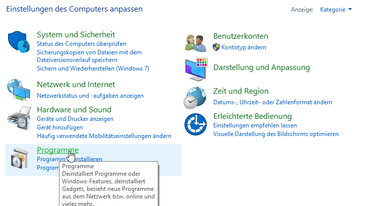 Systemsteuerung Programme