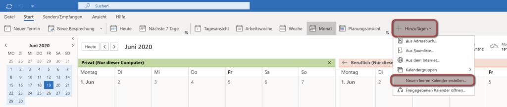 Outlook Kalender hinzufügen Leiste oben