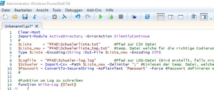Powershell ISE Benutzer aus CSV erstellen