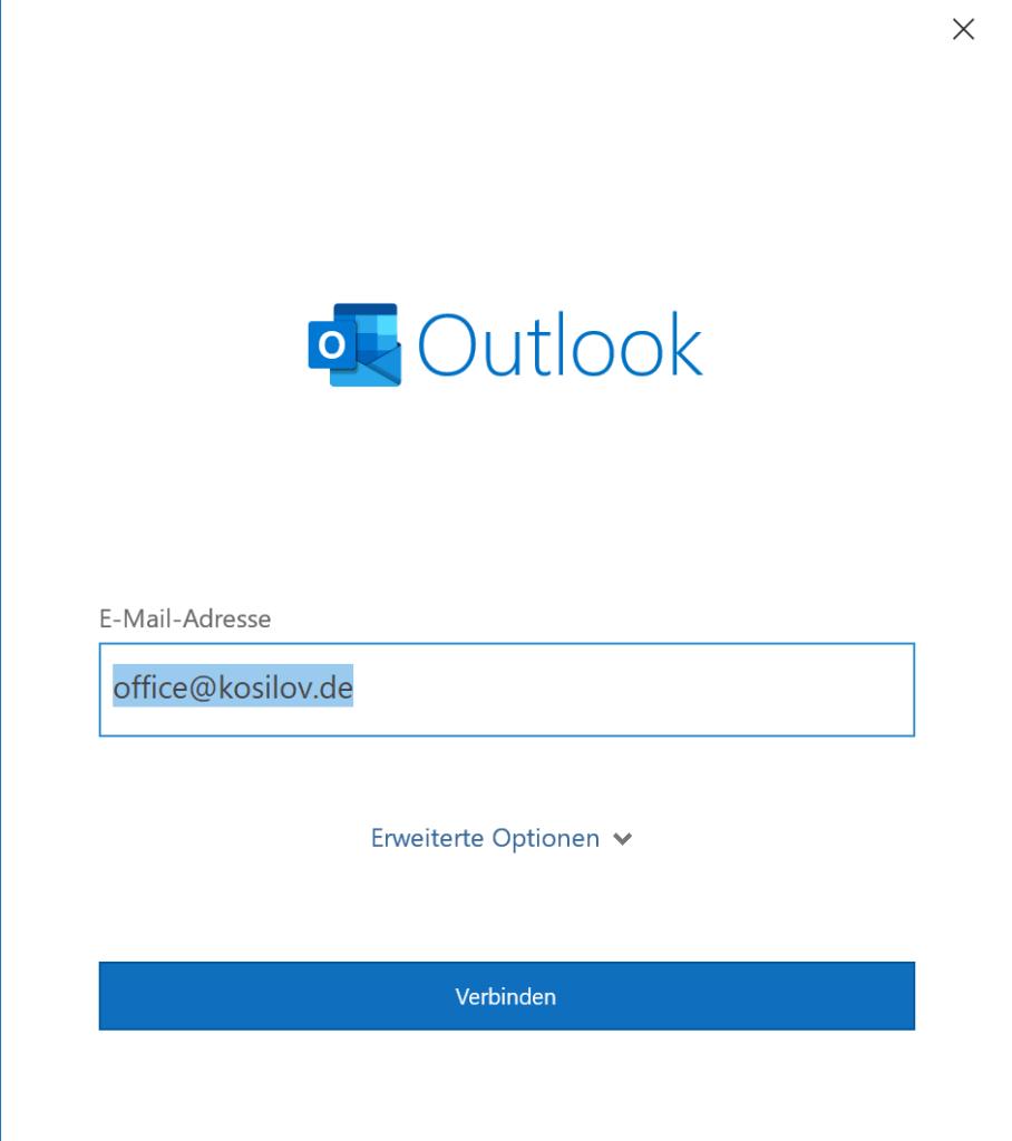 Outlook Anmeldung - Email Adresse in Outlook eintragen
