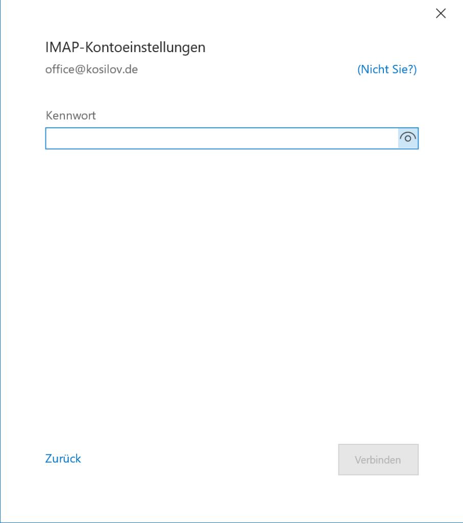 Outlook Anmeldung - Passwort in Outlook eintragen