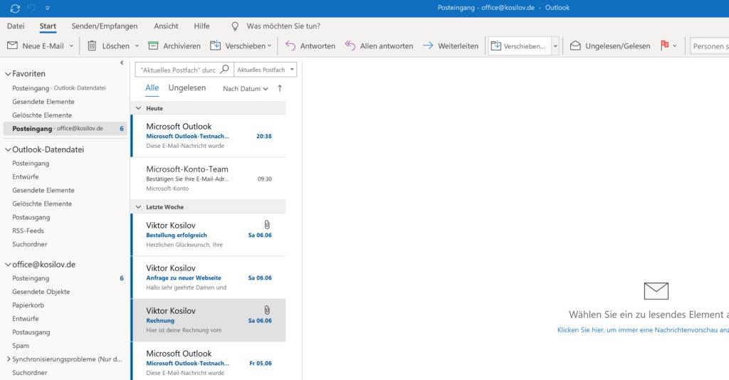 Outlook Anmeldung - Posteingang