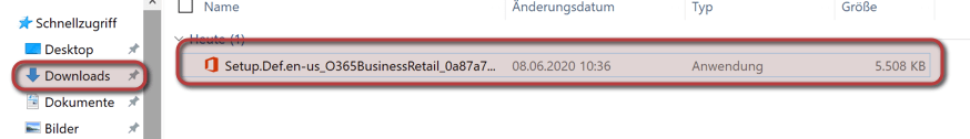 Outlook Anmeldung - Installation starten