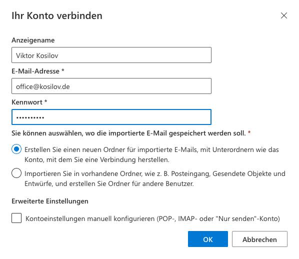 Outlook Anmeldung - Outlook Web App Email hinzufügen Daten eingeben
