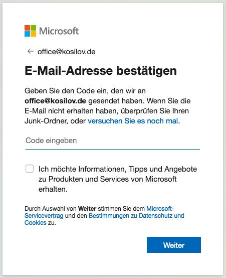 Outlook Anmeldung - Registrierung Code