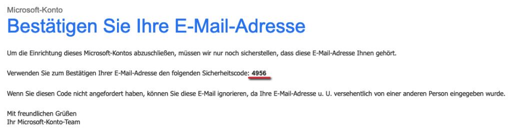 Outlook Anmeldung - Registrierung Code Email