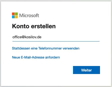 Outlook Anmeldung - Registrierung Email