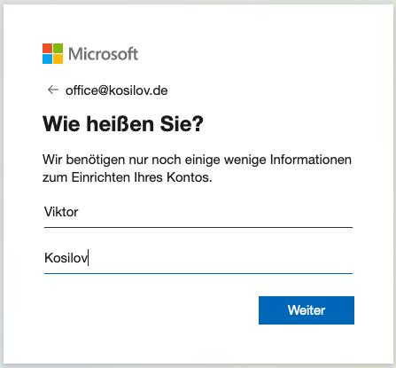 Outlook Anmeldung - Registrierung Name