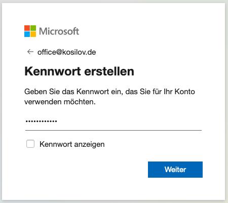 Outlook Anmeldung - Registrierung Passwort