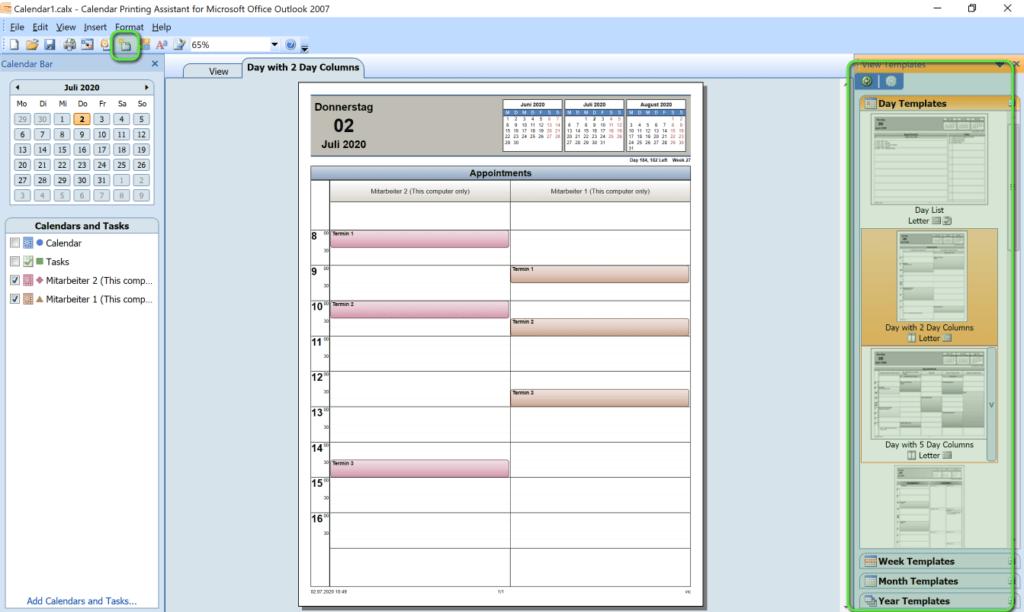Mehrere Kalender drucken Tool einrichten Template wählen